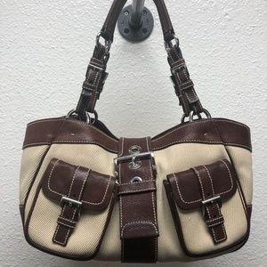 Prada Leather-Trimmed Canvas Shoulder Bag